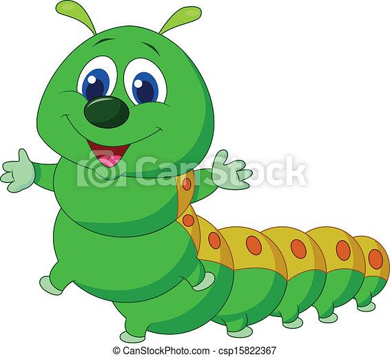 lagarta, caricatura, cute - csp15822367