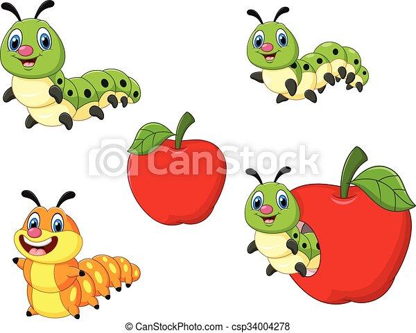lagarta, caricatura, engraçado - csp34004278
