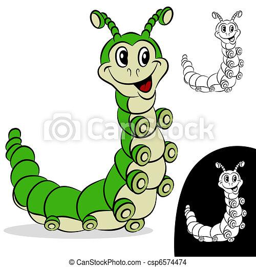 lagarta, personagem, caricatura - csp6574474