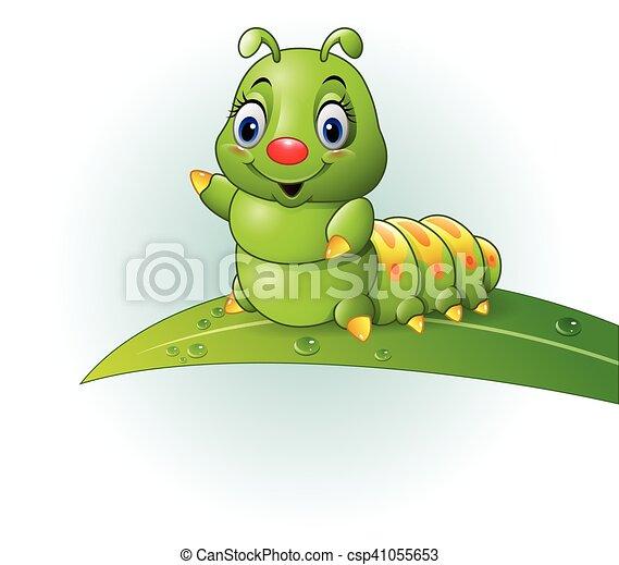 lagarta verde, folha, caricatura - csp41055653
