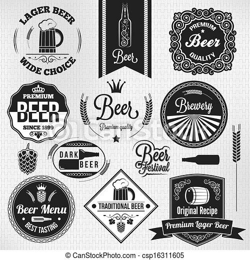 lager, ouderwetse , bier, set, etiketten - csp16311605