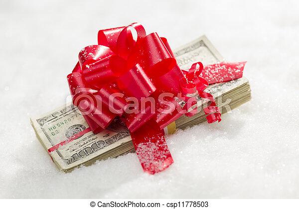 lagförslaget, dollar, snö, röd, hundra, stack, band - csp11778503