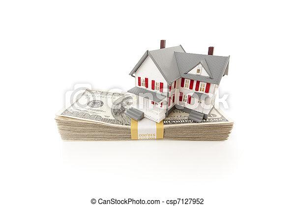 lagförslaget, hus, dollar, liten, hundra, stack - csp7127952