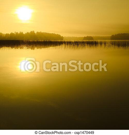 lago, amanhecer - csp1470449