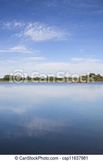 lago, barca, pesca - csp11637981