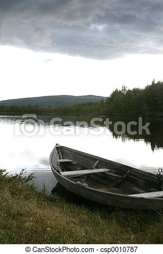 lago, bote - csp0010787