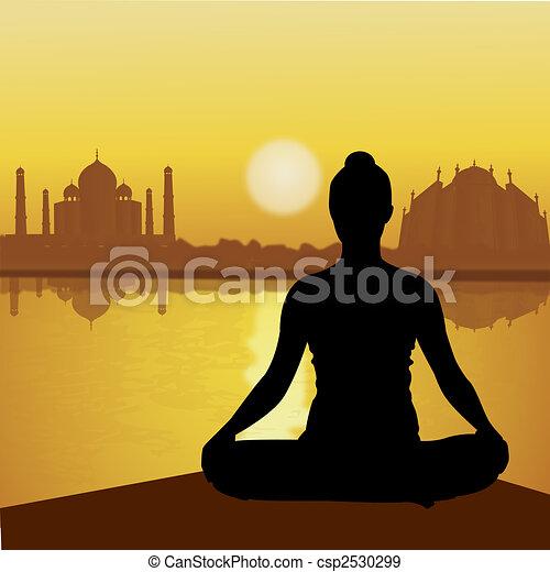Humano haciendo yoga con fondo taj mahal, lado del lago - csp2530299