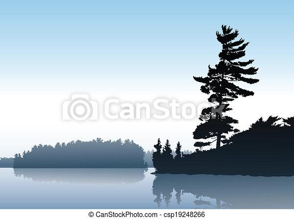 El lago de la mañana - csp19248266