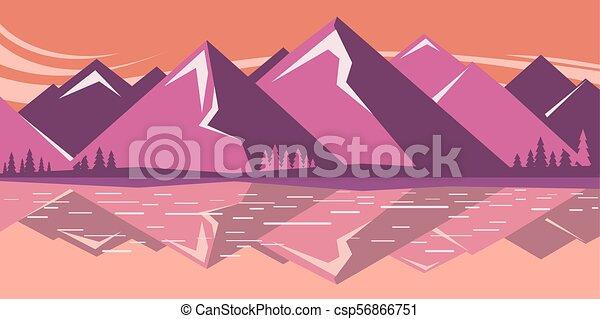 Un paisaje de montaña con lago de montaña - csp56866751