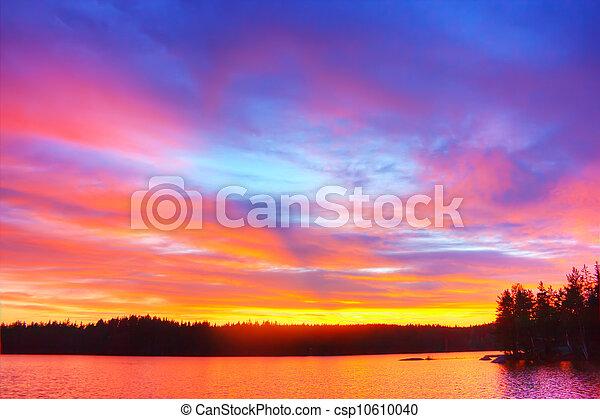 lago, salida del sol - csp10610040