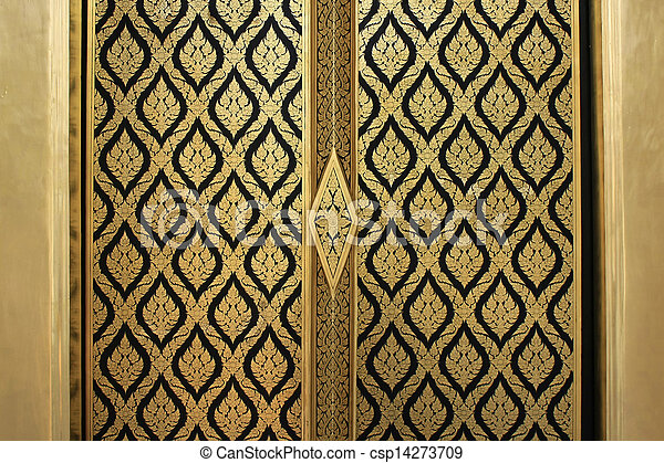Lai-thai door - csp14273709 & Lai-thai door. Abstract golden-red lai-thai style square-sameless ...