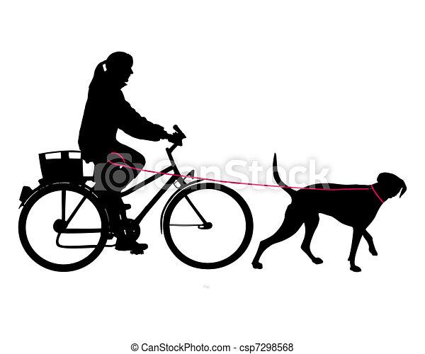 laisse, femme, vélo, chien - csp7298568