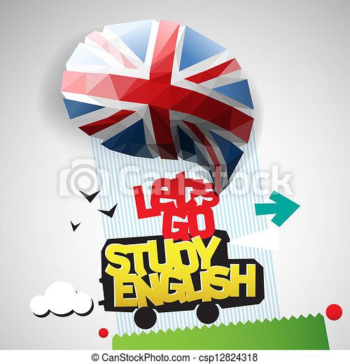 laissons, aller, étude, fond, anglaise - csp12824318