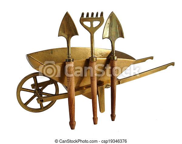 Laiton, outils, jardin, brouette. Pelles, isolé, miniature, fond ...