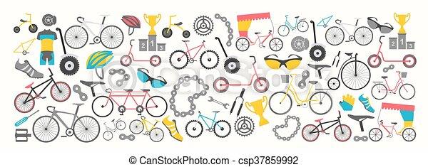 lakás, grafikus, bicikli, ábra, vektor, tervezés, types., bicikli, transzparens, design. - csp37859992