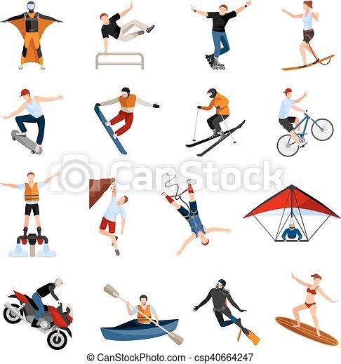 lakás, sport, emberek, extrém, ikonok - csp40664247