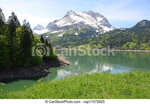 lake., スイス, 山 - csp11072623