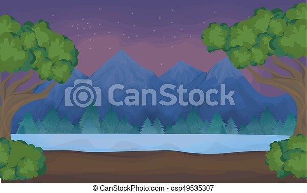 lake., 風景, 山 - csp49535307