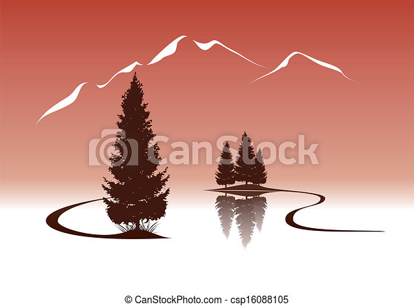 lake and firs in the mountains landscape illustration - csp16088105
