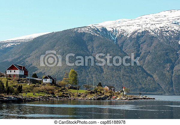 Lake and mountains in Norway - csp85188978