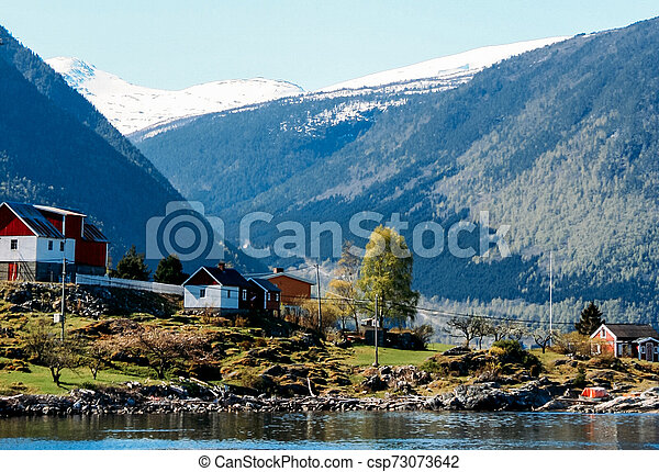 Lake and mountains in Norway - csp73073642