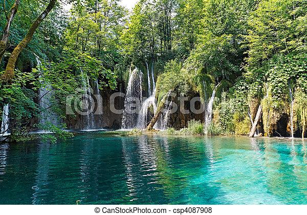Lake and waterfalls in Croatia - csp4087908