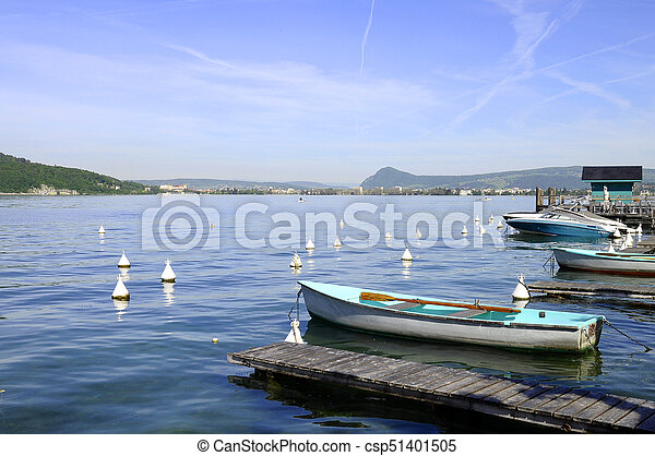 Lake Annecy and marina of Menthon - csp51401505