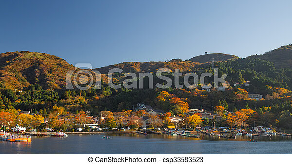 lake ashinoko in full autumn glory - csp33583523