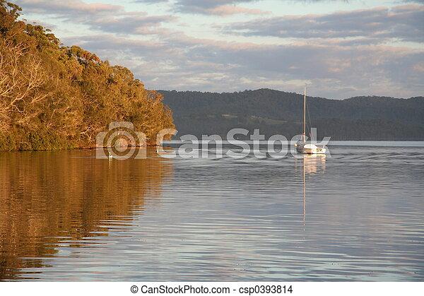 Lake at sunrise - csp0393814