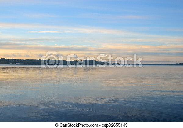 Lake at sunrise. - csp32655143