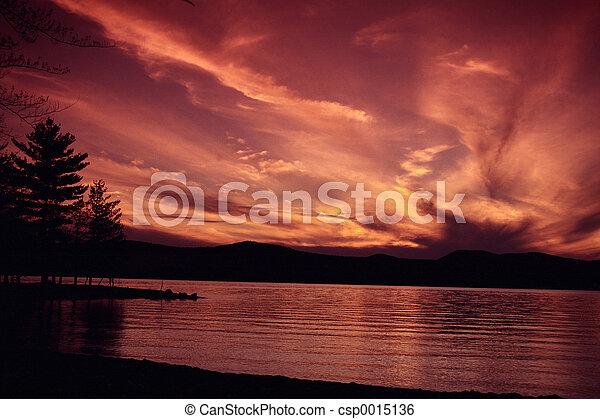 Lake at sunset 2 - csp0015136