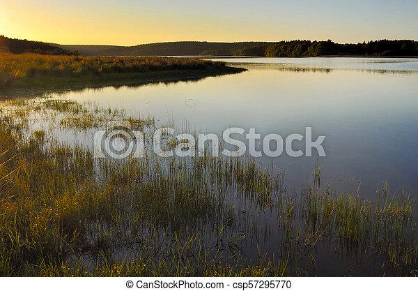 lake at sunset - csp57295770