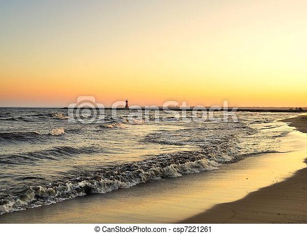 lake at sunset - csp7221261