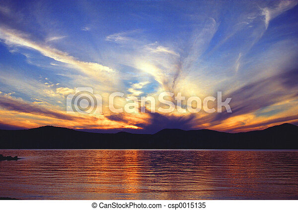 lake at sunset - csp0015135