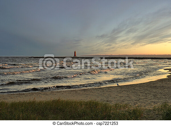 lake at sunset - csp7221253