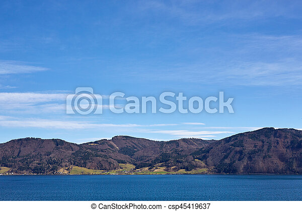 Lake Attersee in spring at Nussdorf - csp45419637