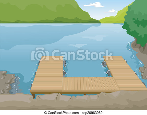 Lake boat dock illustration of a boat dock near a lake lake boat dock csp20963969 freerunsca Gallery