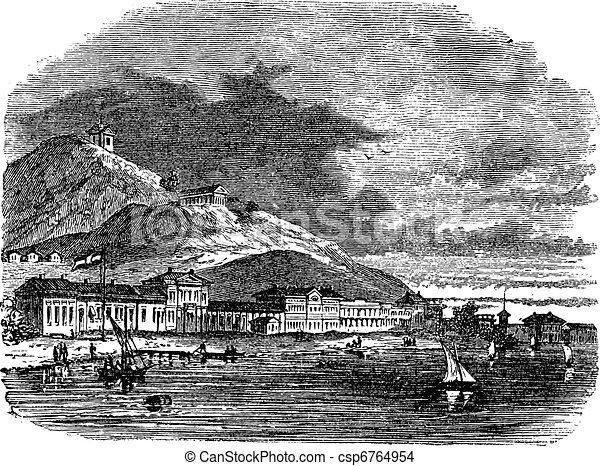 Lake, buildings and mountain at kerch, Ukraine vintage engraving. Old engraved illustration of lake, buildings and mountain at kerch during 18th century. - csp6764954
