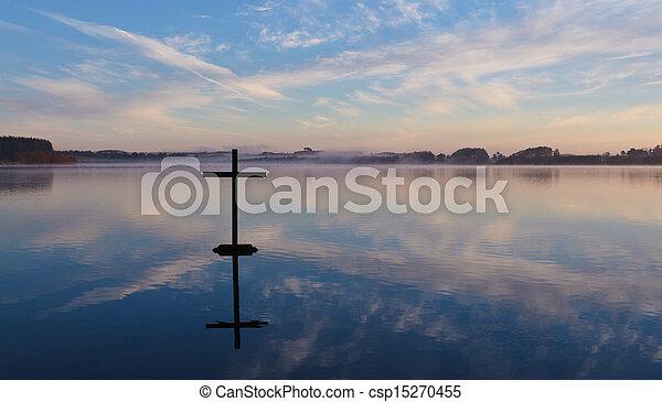 Lake Cross Reflection - csp15270455