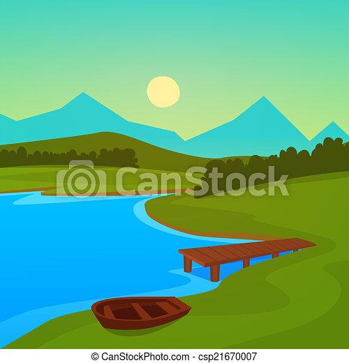 Lake dock summer landscape on the lake with dock lake dock csp21670007 freerunsca Gallery