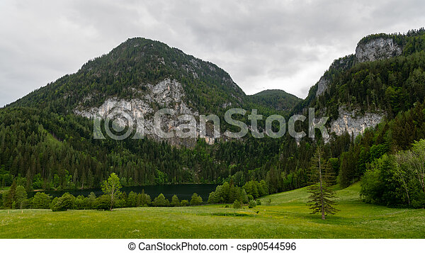 Lake Gleinkersee in Upper Austria on a cloudy day in springtime - csp90544596
