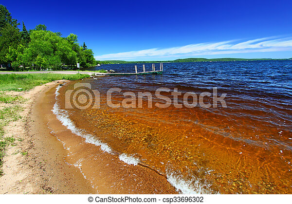 Lake Gogebic Beach Michigan - csp33696302