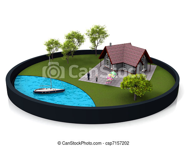 Lake House Stock Illustration
