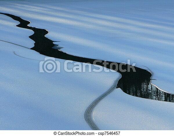 Lake ice melting, spring morning - csp7546457