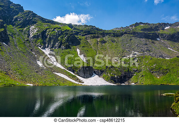 lake in mountains with snow on hillside - csp48612215