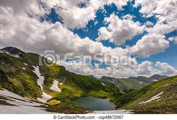 lake in mountains with snow on hillside - csp48672067