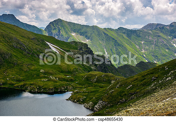lake in mountains with snow on hillside - csp48655430