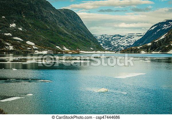 lake in norwegian mountains - csp47444686