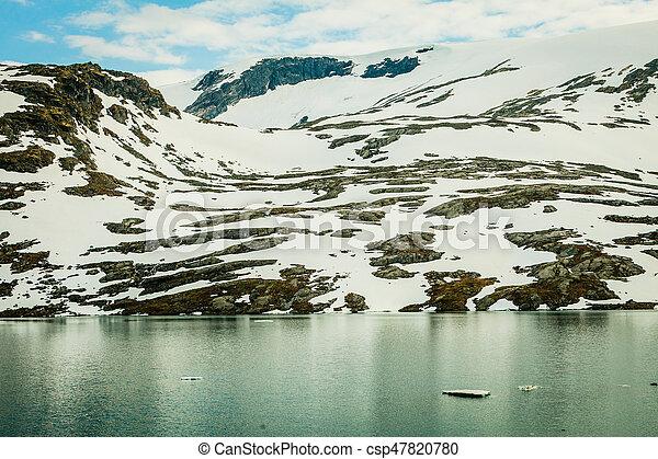 lake in norwegian mountains - csp47820780
