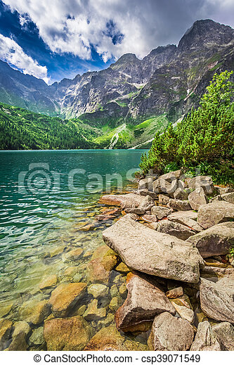 Lake in the mountains at summer - csp39071549